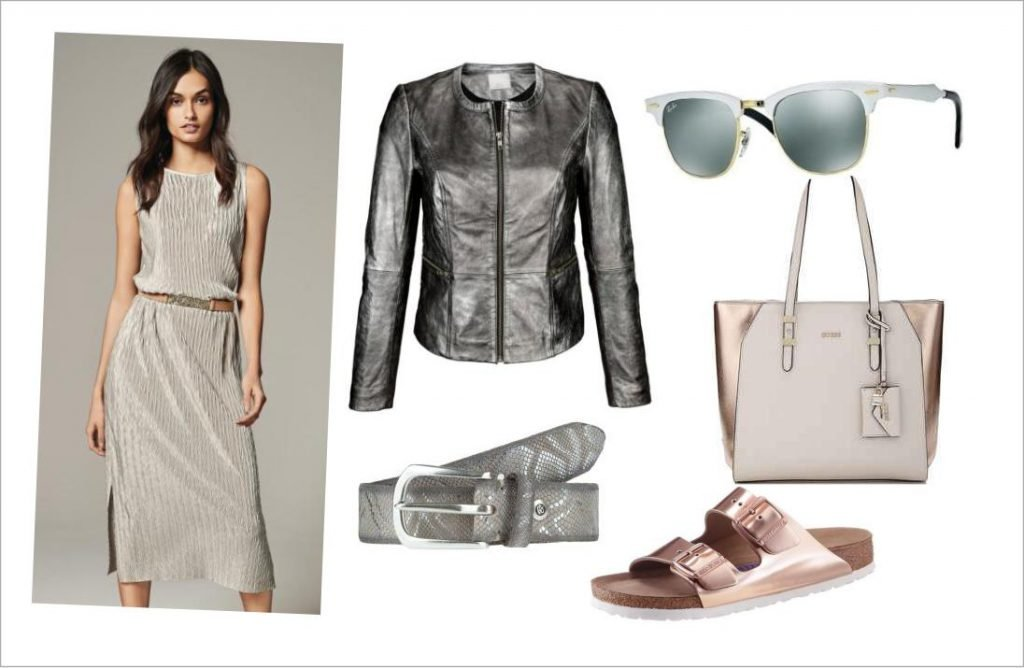 Metallic- Look, Sommerkleid Metalic Optik und Handtasche mit Metallic-Effekt