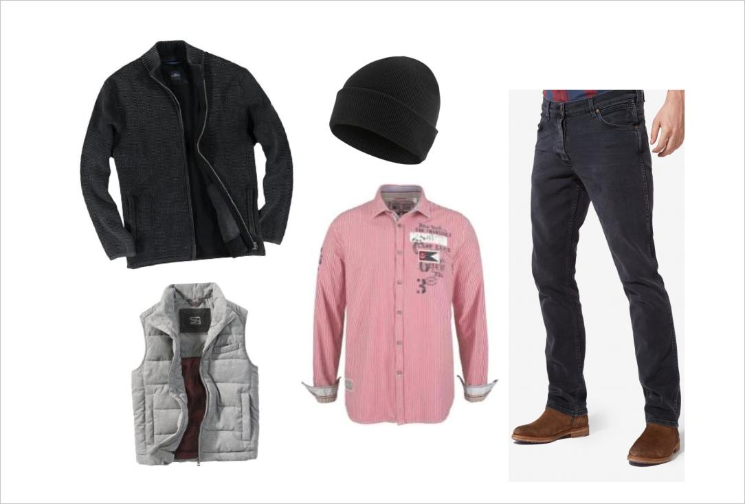 Männermode Outfit mit Jeans in Grau